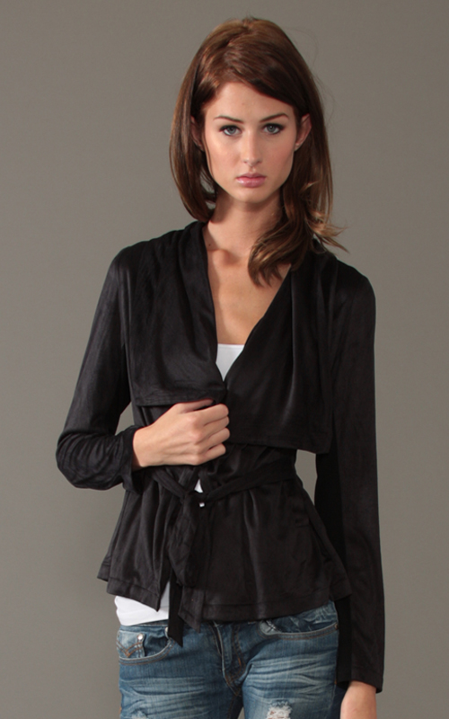 Sugarlips Look of the Day « Sugarlips Blog :  fashion womens top suede wrap jacket womens fashion