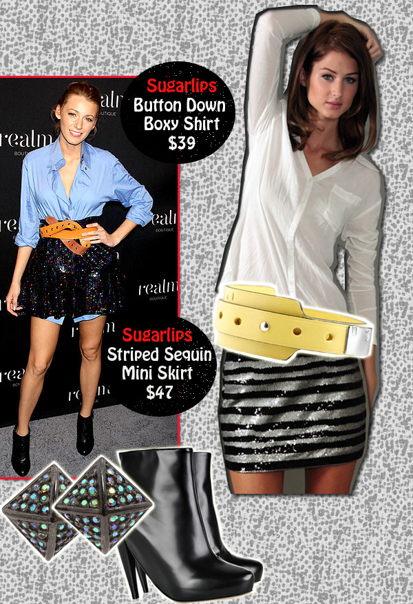 Get Blake's Look for Less! « Sugarlips Blog :  sugarlips apparel sugar lips apparel button down boxy shirt striped sequin mini skirt
