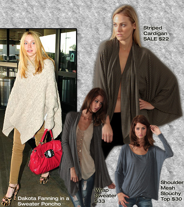 Get Dakota's Sweater Poncho for Less! « Sugarlips Blog :  traveling clothes shoulder mesh slouchy top sugar lips apparel sugarlips apparel