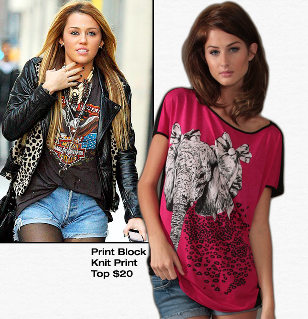 Get Miley's Print Top for Less! « Sugarlips Blog